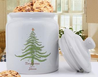 Personalized Christmas Tree Holiday Cookie Jar - Personalized Christmas Kitchen Decor - Treat Jar - Christmas Goodies - Jar - GC1079