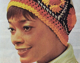 Vintage Crochet Pattern Women and Girl's Granny Square Hat PDF Instant Digital e-Pattern Download