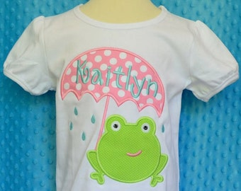 Personalized Frog with Umbrella Applique Shirt or Bodysuit Girl