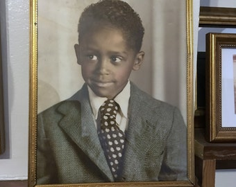 Vintage Hand Colored photo of a Black Child // 50s Photo of a black boy // Antique photo // Black Memorabilia