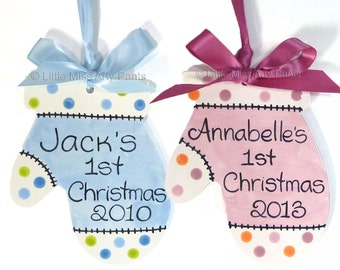 FREE Shipping - Personalized Ceramic Christmas Ornament -  Baby Mitten Ornament - Polka Dots - 1st Christmas Ornament