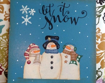 Wood sign Let It Snow 12x12 snowman wood sign winter wall decor holiday decoration primitive wood snowman wall sign holiday wall decor