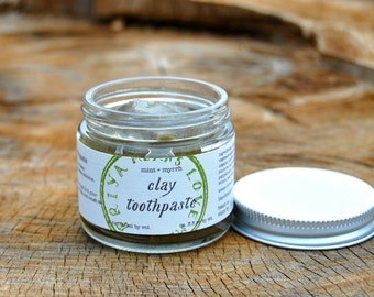 Mint + Myrrh Clay Toothpaste - all natural, organic toothpaste with bentonite, stevia, lemon, and fennel (2 oz jar / 3+ oz by weight)