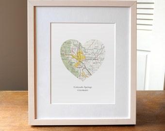 Colorado Springs Heart Print, Colorado Art Print, Colorado Springs Map, Custom City Print