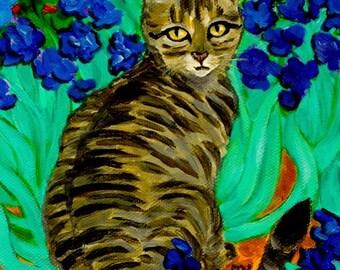 cat painting - A Cat At Van Gogh's Irises Garden - acrylic artwork wall home room dorm decor cat decoration for desk, A3 print A4, 8x10, 6x8
