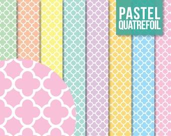 SALE * Quatrefoil Paper Pack - Digital Scrapbooking Printable for Crafting - Clipart - Instant Download - Pastel