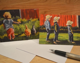 COUNTRY KIDS (B) 6 PACK folded cards with envelopes