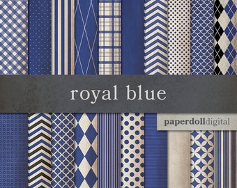 Royal Blue Digital Paper - Chevron Digital Paper - Distressed Digital Paper - Plaid Digital Paper - Instant Download - 20 Sheets