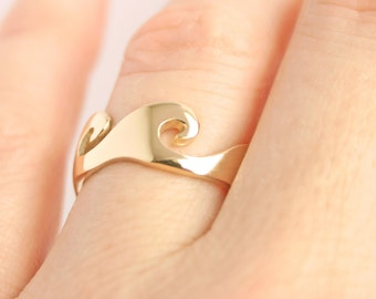 Gold Ring, Wave Ring, Promise Ring, Gold Wave Ring, Ocean Jewelry, Unique Wedding Rings Mens Wedding Rings His Hers Alternative Wedding Ring