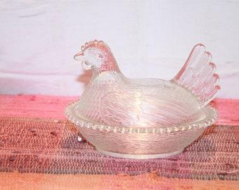 Vintage Clear Glass Hen on Nest