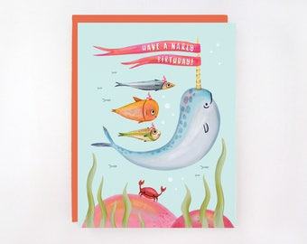 Have A Narly Birthday - Narwhal Greeting Card