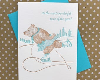It's the most wonderful time of the year - Bear Christmas Greeting Card