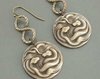 Vintage Earrings - Snake Earrings - Egyptian Earrings - Snake Jewelry - Brass Earrings - Statement Earrings - handmade jewelry