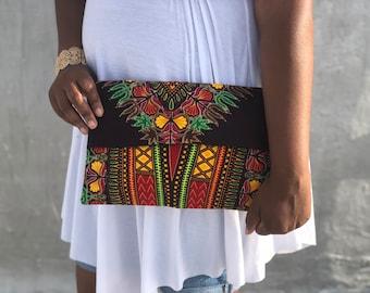 Brown, dashiki, fold over, clutch, purse