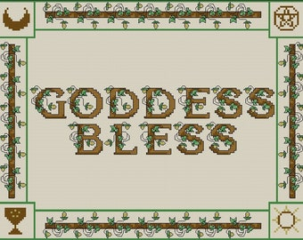 Goddess Bless Sampler Counted Cross Stitch Pattern - Digital Download