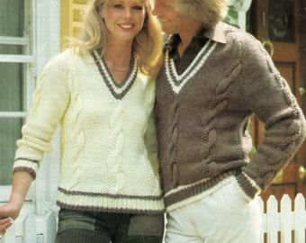 Chunky V Neck Sweater Knitting Pattern PDF