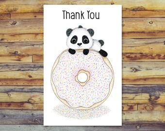 Panda Thank You Card, Digital Download, Printable Blank Card, Instant Download, Digital Greeting Card, Cute Panda on Donut Pencil Art
