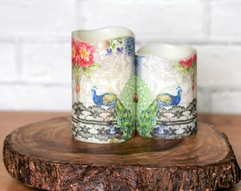 Blue Peacock Pillar Candle Gift Set, Flameless Candle With Peacock Print, Teachers Gift, Birthday Gift For Mom, Peacock Gift For Her