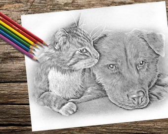 Printable coloring page, Adult Coloring Page, Instant download coloring, Cat Posing coloring page, coloring page, coloring book for adults