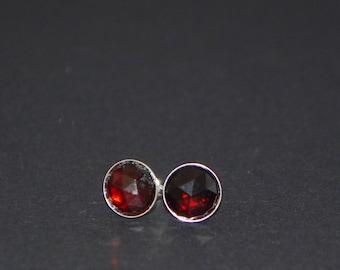 Rose Cut Garnet Stud Earrings - Sterling Silver - 8mm