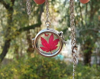 Red Japanese Maple Leaf pressed necklace pendant charm.