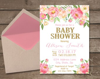 Flower Baby Shower Invitation, Floral Baby Shower Invitation, Flower Shower,  Baby Girl Invitation, Gold Baby Shower, Floral Shower
