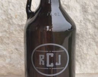 Amber Beer Growler 64oz.  Reusable Custom Etched by Jackglass on Etsy.com