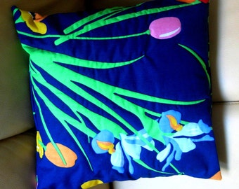 Floral Pillow Iris Decorator Pillow Throw Pillow Quilted Top Sham Navy Orange Yellow Pink