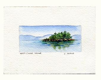 West Coast Island Original Hand Painted Watercolor Art Card