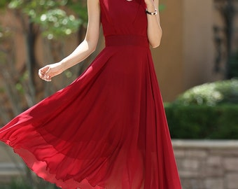 Red dress, cocktail Dress, summer dress, chiffon dress, maxi dress boho, long dresses for women, custom dress, ladies dresses, Gift  (1005)