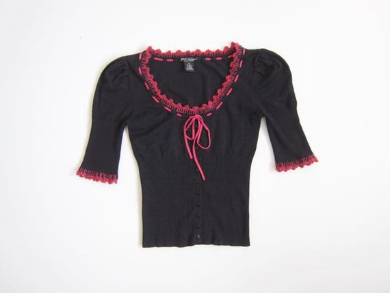 Betsy Johnson Black Ribbed Sweater Top Pink Silk Ribbed Knit Tee Button Up Cropped Vintage 90s Stretchy Preppy Woven Top Womens Medium