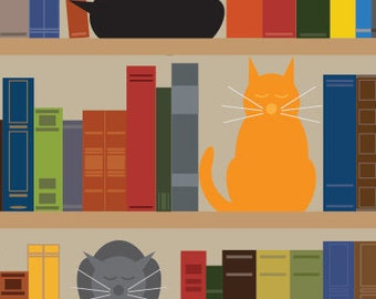 Bookcase Cats Art Print