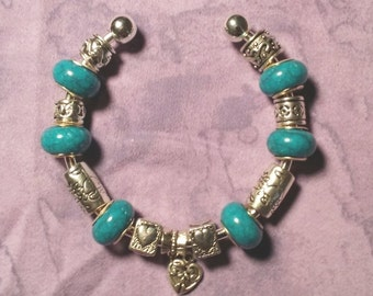 Turquoise blue Lovers, Euro style bracelet