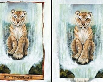 Liger Cat Print, Lion Wall Art, Tiger Poster, Waterfall Decor, Nature Lover, Wildilfe Gift, Temperance, Animism Tarot, Animal Nursery