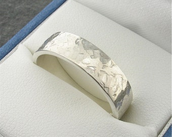Wedding Ring, Mans heavy flat Rustic Hammered style band handmade in silver 6mm wide.