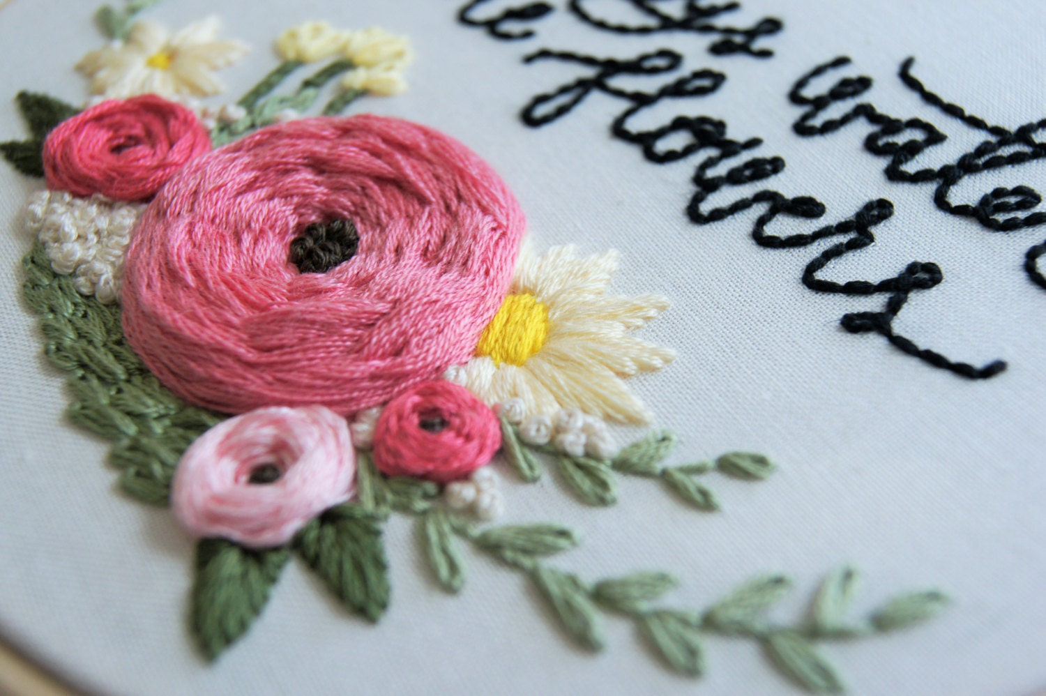 Hand embroidery pattern floral wreath