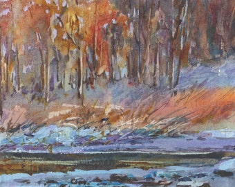 """Fire and Ice - ORIGINAL WATERCOLOR - Painting by Linda Henry - Miniature Watercolor - 5""""x7"""" - Ready to Frame - Free White Mat (#409)"""