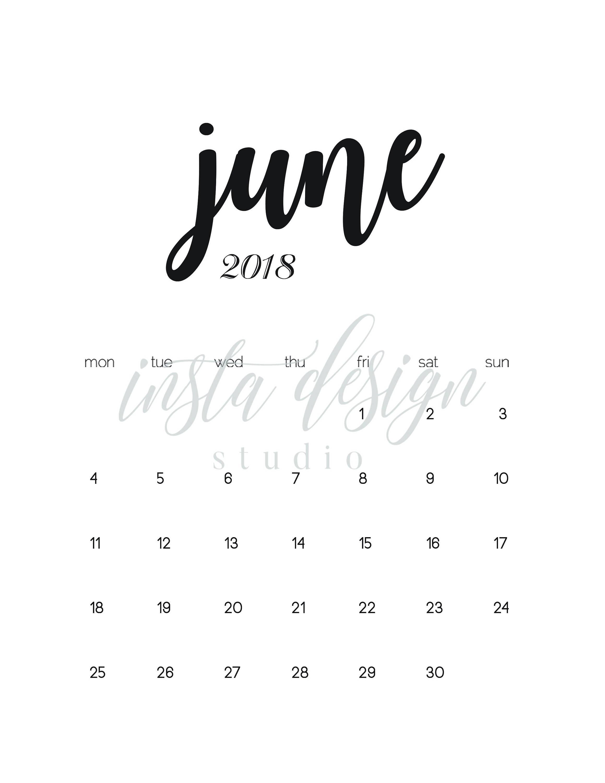 JUNE 2018 printable pregnancy baby announcement calendar