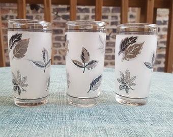 Libbey Silver Leaf 5 oz Flat Tumbler, Juice Glass, or Shot Glass, Set of 3