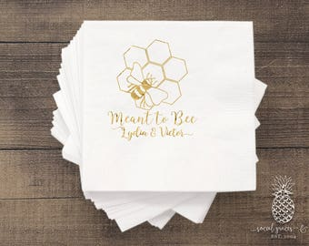 Meant to Be Wedding Napkins   Personalized Napkins   Bumblebee Party Napkins