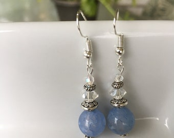 Dainty blue stone and crystal earrings