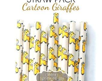Cartoon GIRAFFE Paper Straws Multipack, Giraffe, Animal, Cat, Vintage, 25 Straws, Party