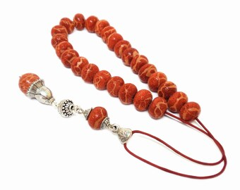 Red Sponge Coral Komboloi with Handmade Sterling Silver Accessories