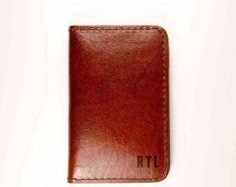 Córdoba   'Russet Brown' Vertical Bifold Leather Wallet, Brown, Vegetable tanned, Full Grain, Handmade Monogrammed
