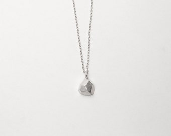 Dainty Pendant - Geometric Facet Matte Sterling Silver Necklace