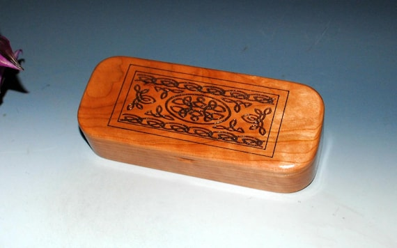 Wooden Pen Box / Pencil Box - Wood Box - Cherry with a Laser Engraved Celtic Knot - Small Wood Box - Jewelry Box - Gift Box - Handmade Box