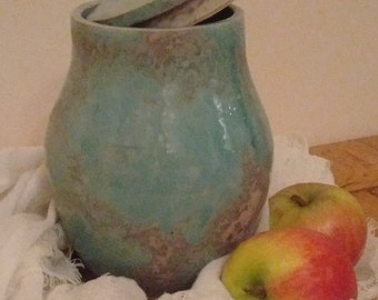 Turquoise pot with lid,