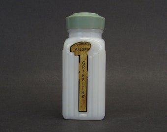 Vintage Milk Glass Jamaican Allspice Bottle with Green Lid (E10589)