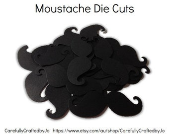25, 50,100 Black Moustache Die Cuts - DIY craft, wedding, party decoration and more!