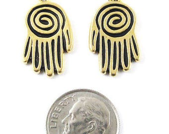 TierraCast Pewter Double Sided Charms-Gold Large Spiral Hand (2)